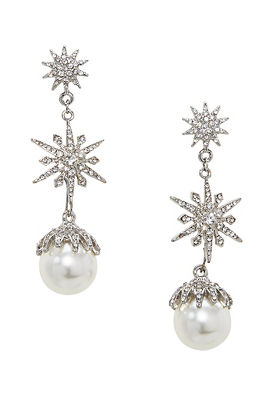 snowflake pearl earrings